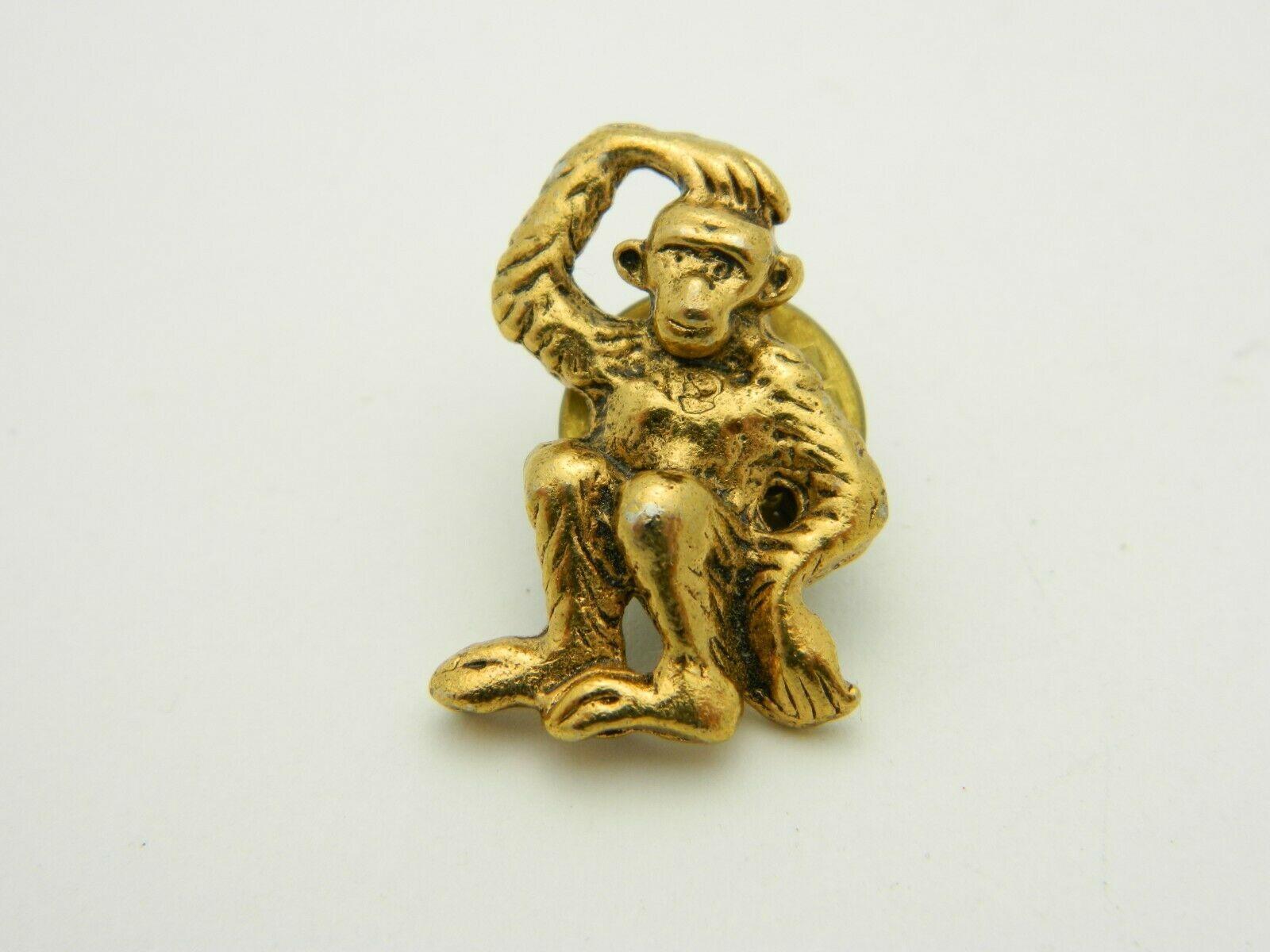 Monkey Scratching His Head Pondering Gold Tone Tie Tack Vintage