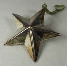 """Silver Metal STAR Christmas Holiday Ornament 3 Dimensional 4 """" Tarnished - $8.27"""