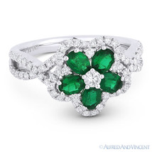 1.19ct Emerald Diamond Pave 18k White Gold Right-Hand Flower Charm Cockt... - £2,214.95 GBP