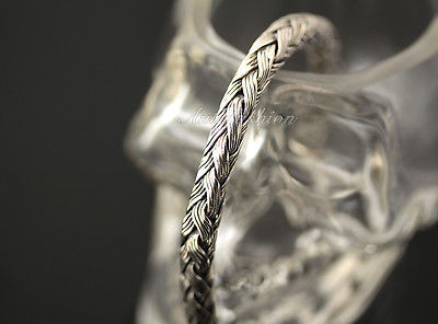 Mens Sterling Silver Bracelet Hand Crafted Woven Rope Style Chain Hip Hop b16 image 4