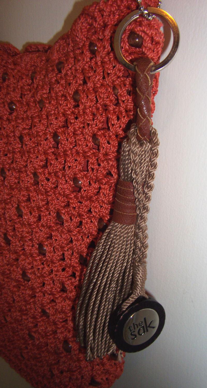 The Sak  Crossbody Bag Cayenne Orange Brown Beads Key Chain Fob Casual Classics
