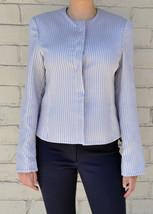 Giorgio Armani Black Label Raise Stripe Silver Grey Jacket Womens 38 Italy image 2