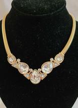 Vintage Trifari Gold Tone Snake Chain Large Clear Rhinestone Statement N... - $129.99