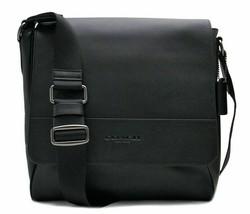 NWT COACH F68015  Leather Crossbody Messenger MEN Bag Black  - $129.99