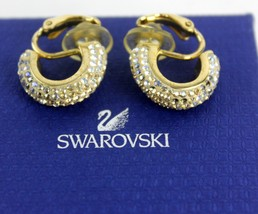 Auth Swarovski Crystal Gold tone Clip on Earrings Ear Ring With original Box - $19.79