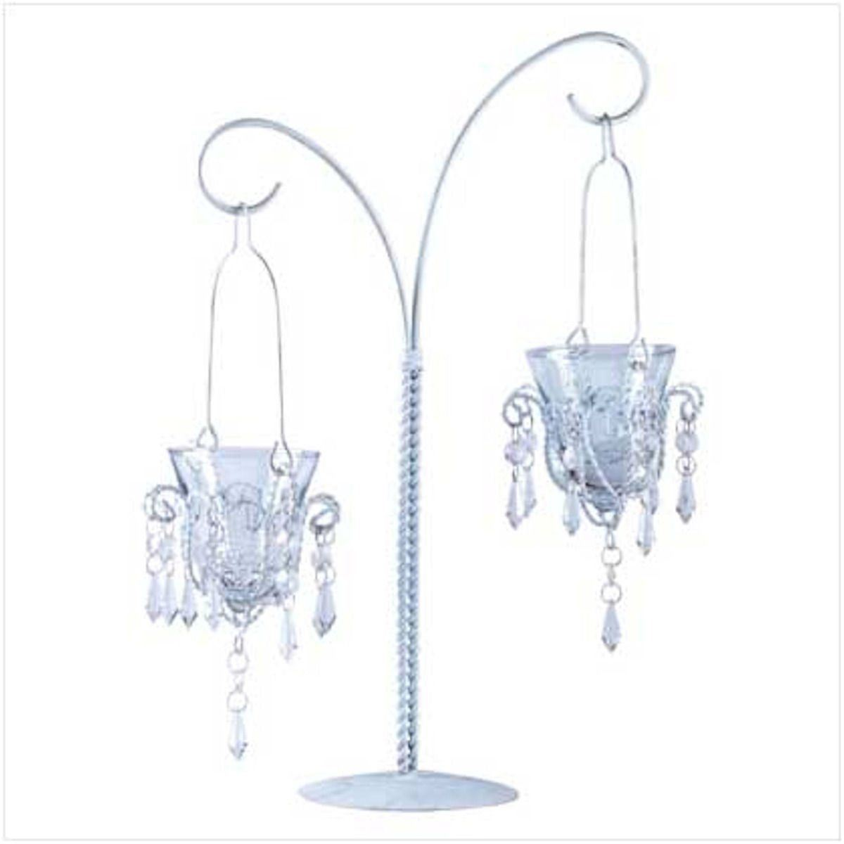 Lot of 10 MINI CHANDELIER VOTIVE STAND Jeweled Hanging Candle Holder Centerpiece
