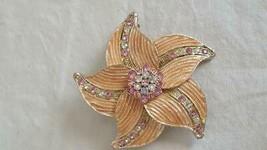 """2.5""""VINTAGE PINK ENAMELED RHINESTONE STAR FLOWER BROOCH PIN, SILVERTONE ... - $8.51"""
