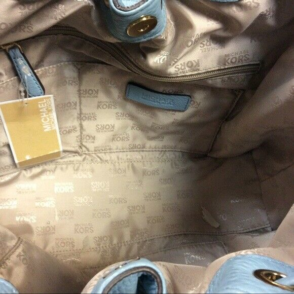 MICHAEL KORS CAMDEN LARGE LEATHER DRAWSTRING POWDER BLUE GOLD TOTE BAG NWT image 2