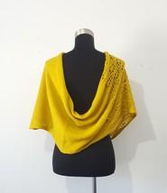 Twisted Crochet Infinity Scarf Shoulder Wrap Ruana Mustard Yellow One Size  image 3