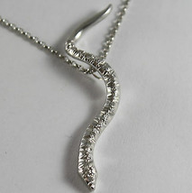 SOLID 18K WHITE GOLD SNAKE PENDANT WITH DIAMONDS CT 0.27 NECKLACE, MADE IN ITALY image 1