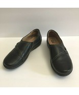 Clarks Bendables Women's Loafers Leather Black Buckle Slip On Size 10 EUC - $38.61