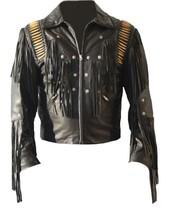 MEN WESTERN BLACK COLOR COWBOY STYLE FRINGES LEATHER JACKET FOR BIKER - $179.99+
