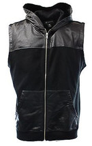 Inc Men's International Concepts Solid Black Full Zip Fleece Vest Hoodie... - $19.99