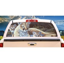 Mountain Lion and Cub Rear Window Mural, Decal, or Tint for rear window in Truck - $77.99