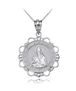 Sterling Silver Saint Augustine Pray For Us CZ Medallion Pendant Necklace - $19.99+