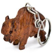 Hand Carved Ironwood Wood Folk Art 3D Buffalo Country Western Theme Keychain image 3