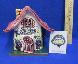 House Cottage Shaped Candle Holder Clayworks w/ Flameless Tea Light Cera... - $14.84