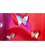 Vintage 1970s Mother of Pearl BUTTERFLY Necklace & Earrings Set Pierced ... - $35.00