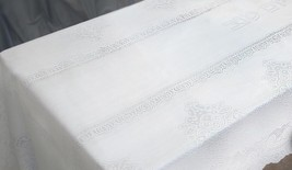 Judaica Shabbat White Lace Tablecloth Hebrew Blessing 140 X 280 cm 55 X 110 inch