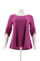 H Halston Knit Crepe Scoop-Neck Top Ruched 3/4-Sleeves Elderberry M NEW ... - $27.70