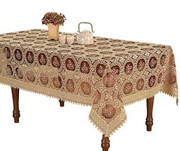 Simhomsen Vintage Burgundy Lace Tablecloth Embroidered Rectangle 70 × 14... - $95.75