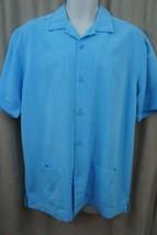 Cubavera Mens Button Shirt Sz S Blue Grotto Palya Ancon Casual Short Sle... - $35.17