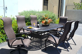 7 piece outdoor dining set cast aluminum patio furniture Venice 6 person seating image 3