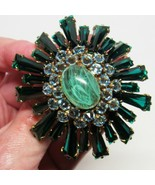 Signed SCHREINER NEW YORK Emerald Green Keystone & Blue Domed Ruffle Pin... - $1,584.00