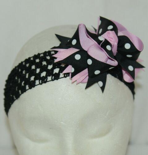 Unbranded Girl Infant Toddler Headband Removable Hair Bow Black Pink White