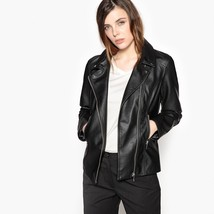Tailored Collar with Press-Stud & Asymmetric V-neck Women Genuine Leather Jacket
