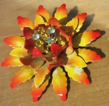 VINTAGE ORANGE / YELLOW  ENAMEL FLOWER PIN WITH RHINESTONES -SIGNED - $57.00
