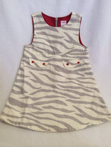 Gymboree Girls Tiger Love 3T Grey Zebra Print Heart Button Jumper Dress ... - $10.99
