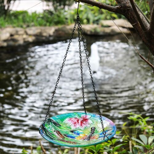 Hanging Bird Bath Glass Birdbath With Iron Chain Birdbaths Outdoor Garden Decor