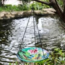 Hanging Bird Bath Glass Birdbath With Iron Chain Birdbaths Outdoor Garde... - $49.49