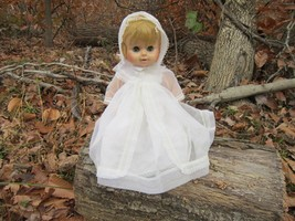 1960s Horsman Doll- Blond Vintage Girl Toy with White Dress and Bonnet - $24.74