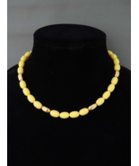 NAPIER Yellow Necklace, Yellow Lucite Oblong Beads Choker Necklace, Vintage - $42.00