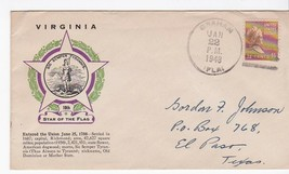 VIRGINIA 10th STAR OF THE FLAG POSTMARKED GRAHAM FLORIDA JANUARY 22 1948 - $1.78
