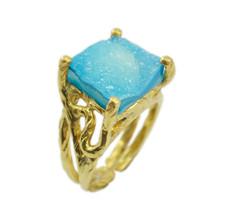 charming Druzy Gold Plated Multi Ring genuine gemstones US gift - $7.74