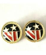 Vintage 80s Park Lane Earrings Gold Round Enamel Stars Stripes USA Patri... - $29.99