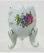 Vintage Desktop Egg Shaped Hand Painted Porcelain Vase Gold Rimmed Flora... - $19.79