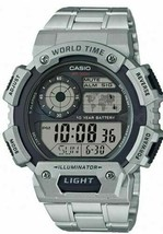 Casio AE1400WHD-1AV Silver Men's Classic Digital World Time Bracelet Watch  - $34.16