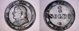 1867-XXIR Italian States Papal States 1 Soldo World Coin - Pius IX - Sma... - $49.99