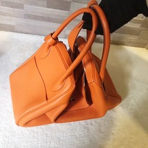 100% Authentic HERMES Taurillon Clemence Lindy 34 ORANGE Shoulder Bag PHW image 3