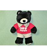 "Build A Bear 16"" CAMP TEDDY BEAR Black Stuffed Animal Red SHIRT Tan Shor... - $16.83"