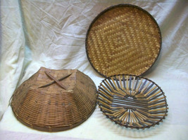 LOT3 LARGE WOVEN BASKETS WICKER TRAY RATTAN PLANTS EASTER DECORATIVE COL... - $15.00