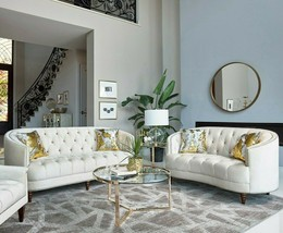 Modern Glam Living Room 2-Piece Sofa Set Couch & Loveseat Set, Off White... - $2,469.99