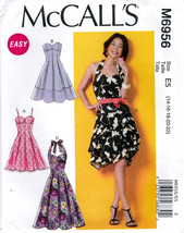 McCall's M6956 Womens Misses Summer Dresses Sewing Pattern Sizes 14-16-18-20-22 - $8.95