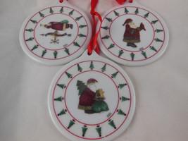 "Debbie Mumm Santa Christmas Ornaments 3"" Porcelain disks disc Nice - $6.92"