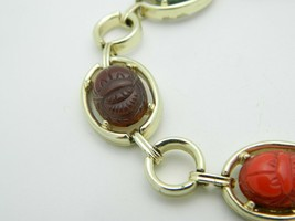 Multi-Color Lucite Carved Egyptian Scarab Gold Tone Bracelet Vintage image 2