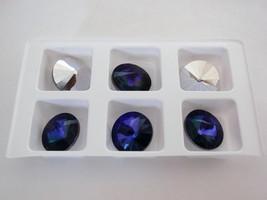 5(Five)  12 mm Rivoli Beads: Crystal - Heliotrope - $4.04